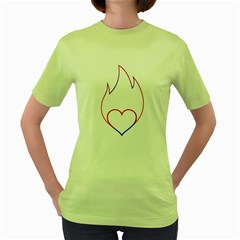 Heart Flame Logo Emblem Women s Green T Shirt