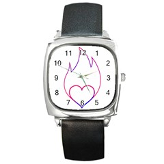 Heart Flame Logo Emblem Square Metal Watch