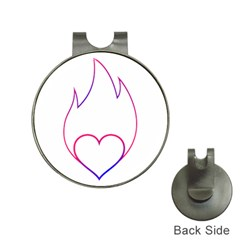 Heart Flame Logo Emblem Hat Clips With Golf Markers