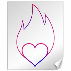 Heart Flame Logo Emblem Canvas 11  X 14