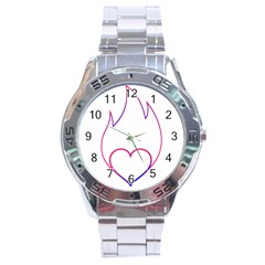 Heart Flame Logo Emblem Stainless Steel Analogue Watch