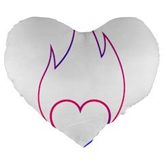 Heart Flame Logo Emblem Large 19  Premium Flano Heart Shape Cushions