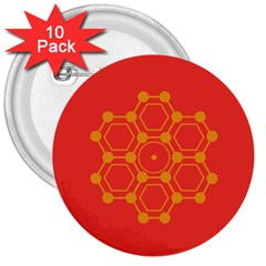 Pentagon Cells Chemistry Yellow 3  Buttons (10 Pack)