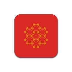 Pentagon Cells Chemistry Yellow Rubber Coaster (square)
