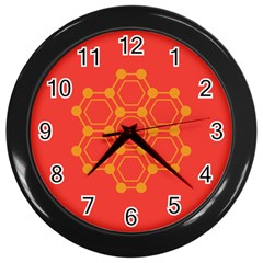 Pentagon Cells Chemistry Yellow Wall Clocks (black)