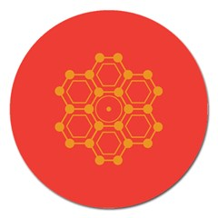 Pentagon Cells Chemistry Yellow Magnet 5  (round)