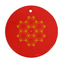 Pentagon Cells Chemistry Yellow Round Ornament (two Sides)