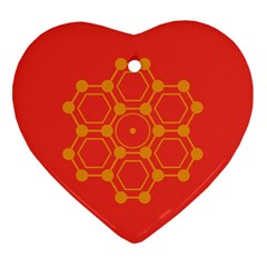 Pentagon Cells Chemistry Yellow Heart Ornament (two Sides)