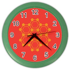Pentagon Cells Chemistry Yellow Color Wall Clocks