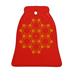 Pentagon Cells Chemistry Yellow Ornament (bell)
