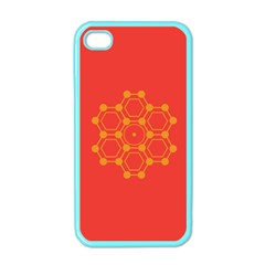 Pentagon Cells Chemistry Yellow Apple Iphone 4 Case (color)