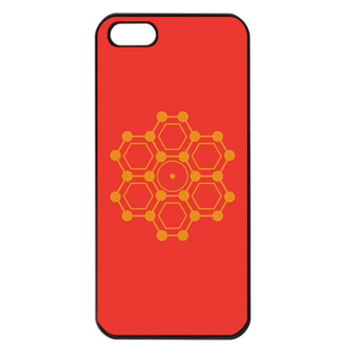 Pentagon Cells Chemistry Yellow Apple iPhone 5 Seamless Case (Black)