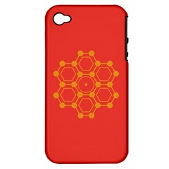 Pentagon Cells Chemistry Yellow Apple Iphone 4/4s Hardshell Case (pc+silicone)