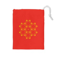 Pentagon Cells Chemistry Yellow Drawstring Pouches (large)