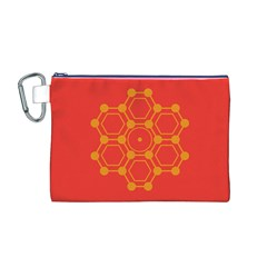 Pentagon Cells Chemistry Yellow Canvas Cosmetic Bag (m)