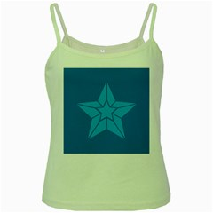 Star Design Pattern Texture Sign Green Spaghetti Tank