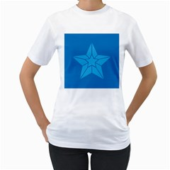 Star Design Pattern Texture Sign Women s T Shirt (white) (two Sided)
