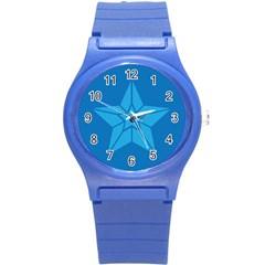 Star Design Pattern Texture Sign Round Plastic Sport Watch (s)