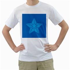 Star Design Pattern Texture Sign Men s T Shirt (white)