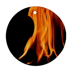 Fire Flame Pillar Of Fire Heat Round Ornament (two Sides)