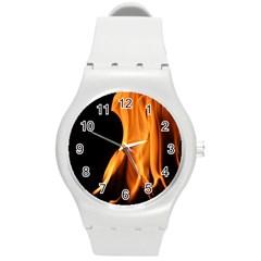 Fire Flame Pillar Of Fire Heat Round Plastic Sport Watch (m)