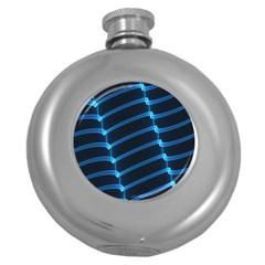 Background Light Glow Blue Round Hip Flask (5 Oz)