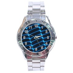 Background Light Glow Blue Stainless Steel Analogue Watch