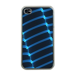 Background Light Glow Blue Apple Iphone 4 Case (clear)