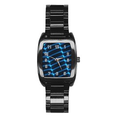 Background Light Glow Blue Stainless Steel Barrel Watch