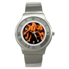 Fire Flame Heat Burn Hot Stainless Steel Watch