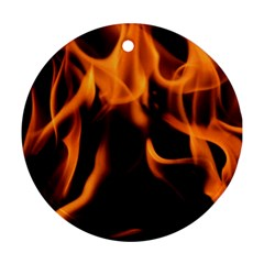 Fire Flame Heat Burn Hot Round Ornament (two Sides)