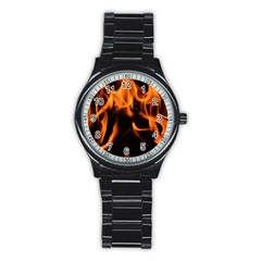 Fire Flame Heat Burn Hot Stainless Steel Round Watch