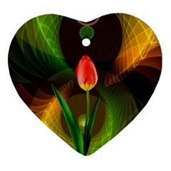 Tulip Flower Background Nebulous Ornament (heart)