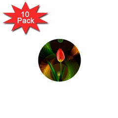 Tulip Flower Background Nebulous 1  Mini Buttons (10 Pack)