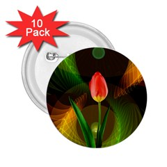 Tulip Flower Background Nebulous 2 25  Buttons (10 Pack)