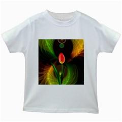 Tulip Flower Background Nebulous Kids White T Shirts