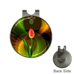 Tulip Flower Background Nebulous Hat Clips With Golf Markers