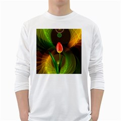 Tulip Flower Background Nebulous White Long Sleeve T Shirts