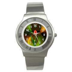 Tulip Flower Background Nebulous Stainless Steel Watch