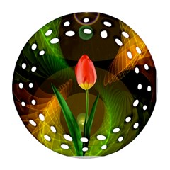 Tulip Flower Background Nebulous Round Filigree Ornament (two Sides)
