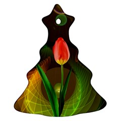 Tulip Flower Background Nebulous Christmas Tree Ornament (two Sides)