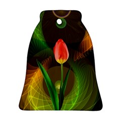 Tulip Flower Background Nebulous Bell Ornament (two Sides)
