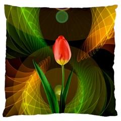 Tulip Flower Background Nebulous Large Cushion Case (one Side)