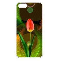 Tulip Flower Background Nebulous Apple Iphone 5 Seamless Case (white)