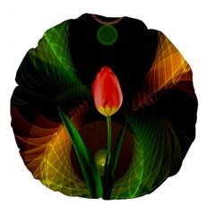 Tulip Flower Background Nebulous Large 18  Premium Round Cushions
