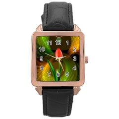 Tulip Flower Background Nebulous Rose Gold Leather Watch