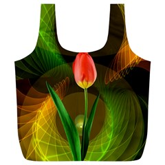 Tulip Flower Background Nebulous Full Print Recycle Bags (l)