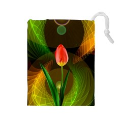 Tulip Flower Background Nebulous Drawstring Pouches (large)