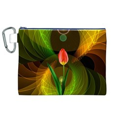 Tulip Flower Background Nebulous Canvas Cosmetic Bag (xl)