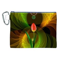 Tulip Flower Background Nebulous Canvas Cosmetic Bag (xxl)